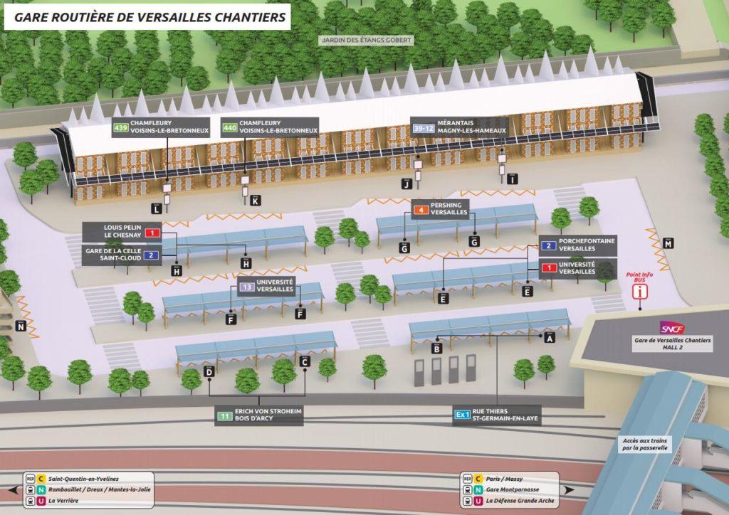 Plan des quais de la grare routière Versailles Chantiers