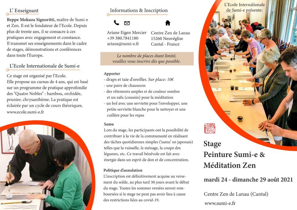 Stage Peinture Sumi-e et Méditation Zen à Lanau août 2021